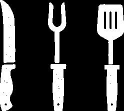 Herramientas de asado: Cuchillo, tenedor y espátula para parrilla.
